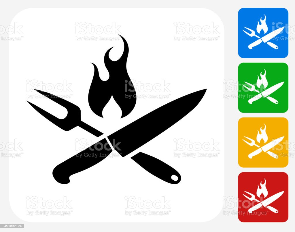 Grilling Utensils Icon Flat Graphic Design vector art illustration