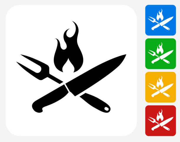 Grilling Utensils Icon Flat Graphic Design Grilling Utensils Icon. This 100% royalty free vector illustration features the main icon pictured in black inside a white square. The alternative color options in blue, green, yellow and red are on the right of the icon and are arranged in a vertical column. utility knife stock illustrations