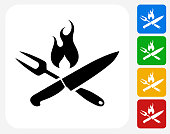 Grilling Utensils Icon Flat Graphic Design
