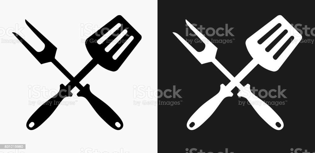 Grilling Utensils Icon on Black and White Vector Backgrounds vector art illustration