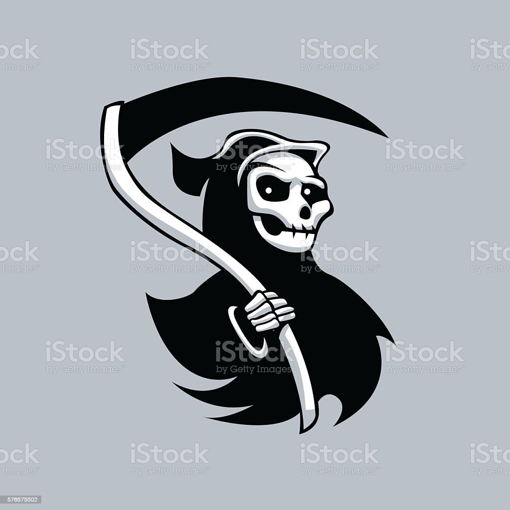 Grim Reaper Black An Whitegrim Reaper Tattoos Stock Vector Art