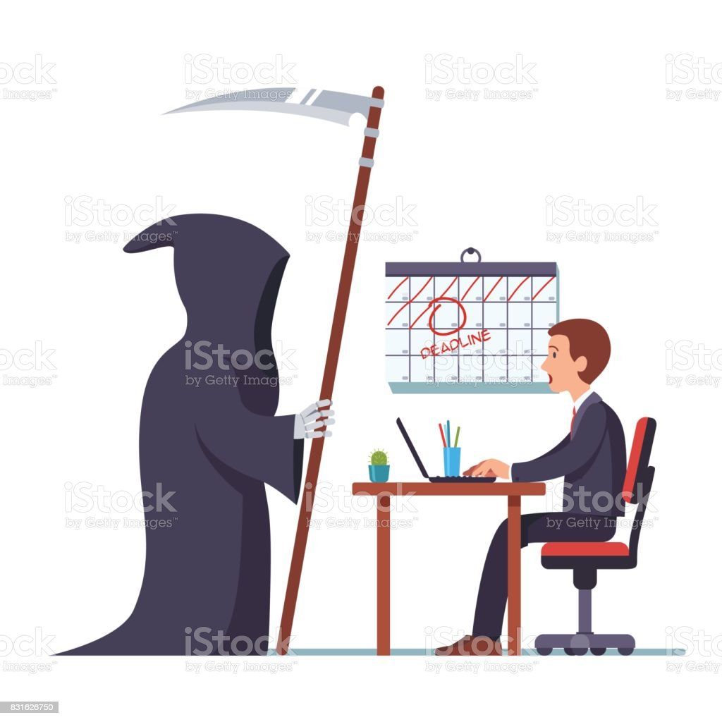 Grim reaper came to frightened businessman working vector art illustration