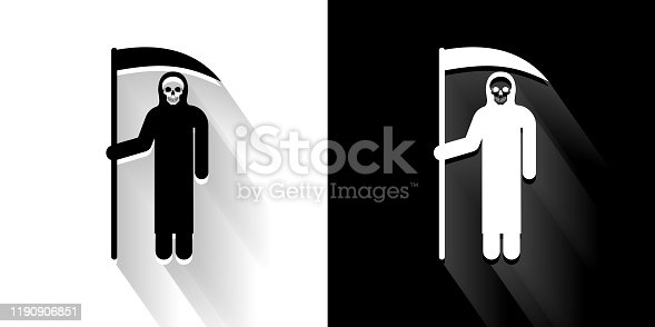 Grim Reaper Holding Scythe Black and White Icon with Long Shadow. This 100% royalty free vector illustration is featuring the square button and the main icon is depicted in black and in white with a black icon on it. It also has a long shadow to give the icons more depth.