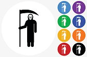 Grim Reaper Holding Scythe Icon on Flat Color Circle Buttons