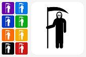 Grim Reaper Holding Scythe Icon Square Button Set