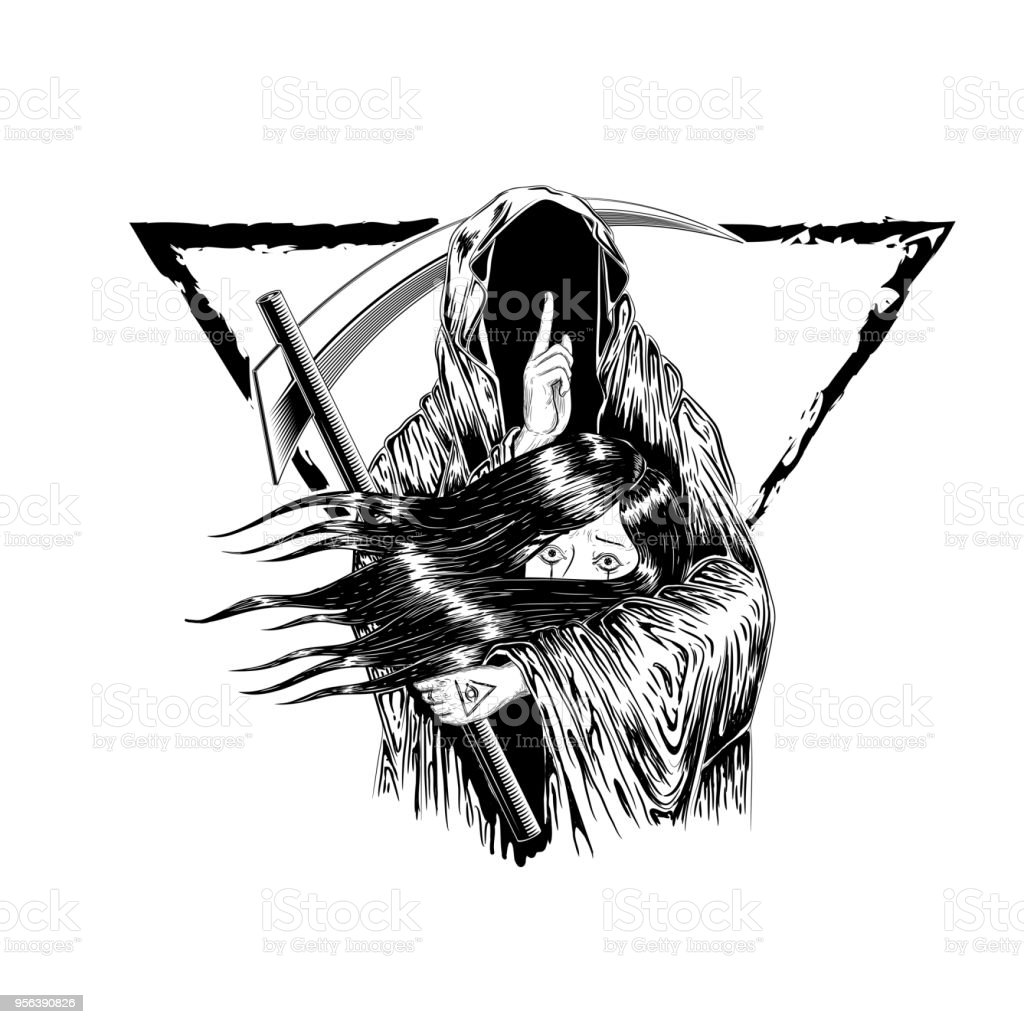 Grim Reaper, Human  Wearing A Hood, Isolated On color Background, Vector illustration. woman hold with the ghost. to die. tattoo design. hand drawing and digital. line art design. triangle border. vector art illustration