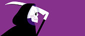 istock Grim Reaper in black cloak. Vector illustration with copy space. Banner with purple background. 1256764343