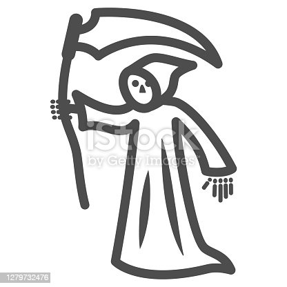 istock Grim Reaper line icon, Halloween concept, Death with scytheman sign on white background, grim reaper with scythe icon in outline style for mobile concept and web design. Vector graphics. 1279732476
