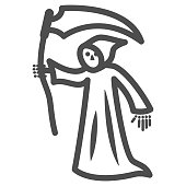 Grim Reaper line icon, Halloween concept, Death with scytheman sign on white background, grim reaper with scythe icon in outline style for mobile concept and web design. Vector graphics