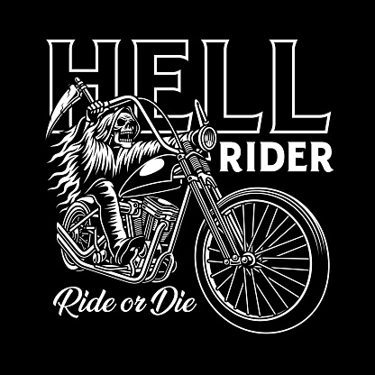 Grim Reaper Riding Motorcycle On Black
