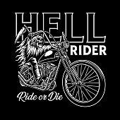 fully editable vector illustration of grim reaper riding motorcycle, image suitable for emblem design, tattoo or t-shirt graphic