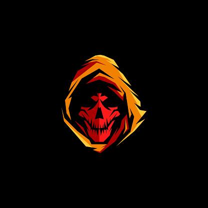 Grim Reaper Skull Gaming Mascot