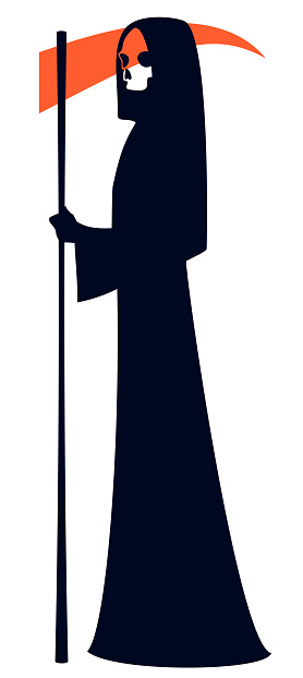 Grim Reaper with a red scythe, a death character, vector illustration.