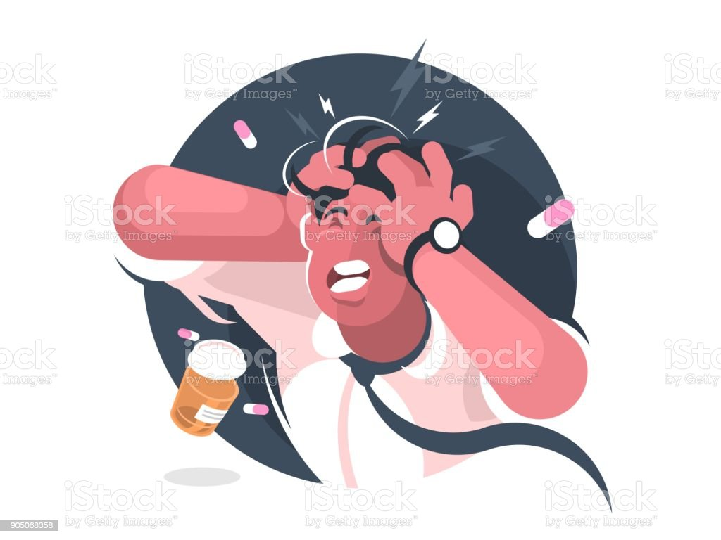 Grimace Of Man With Severe Headache Stock Illustration ...