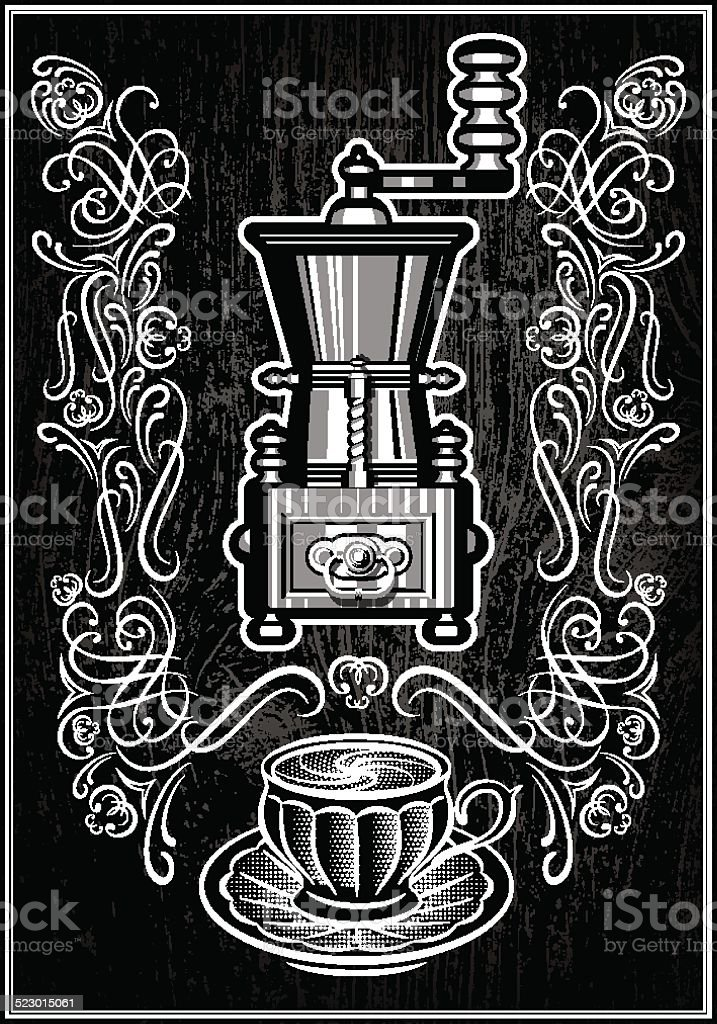 grinder with ornament and inscription vector art illustration