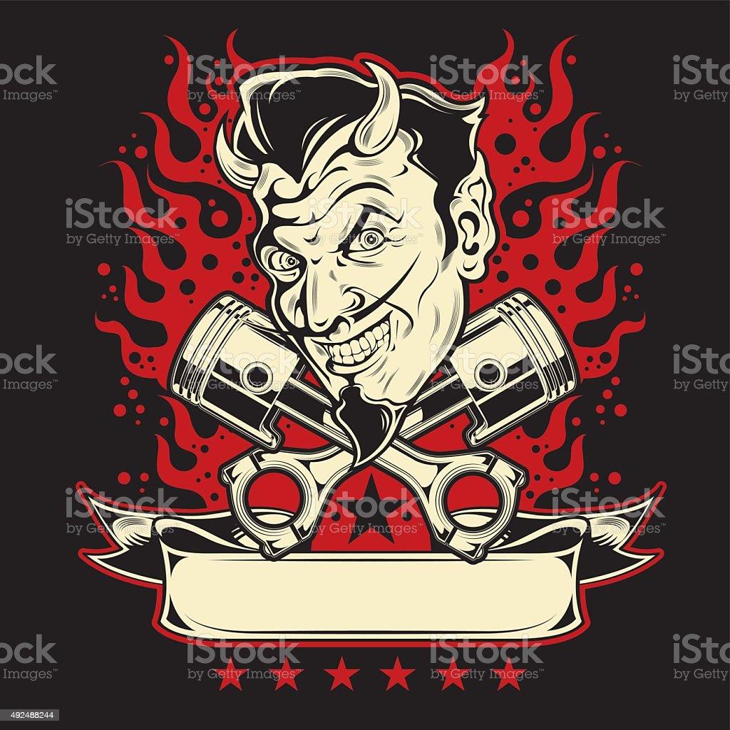 Grinning Devil with Fire vector art illustration