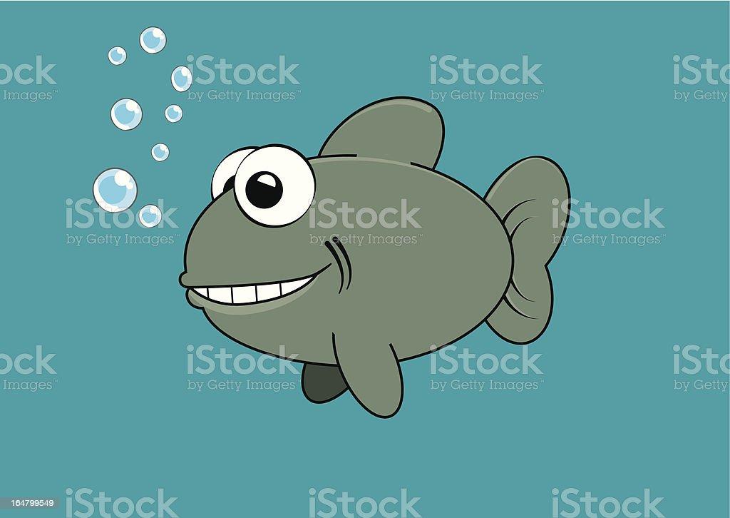 Grinning fish vector art illustration