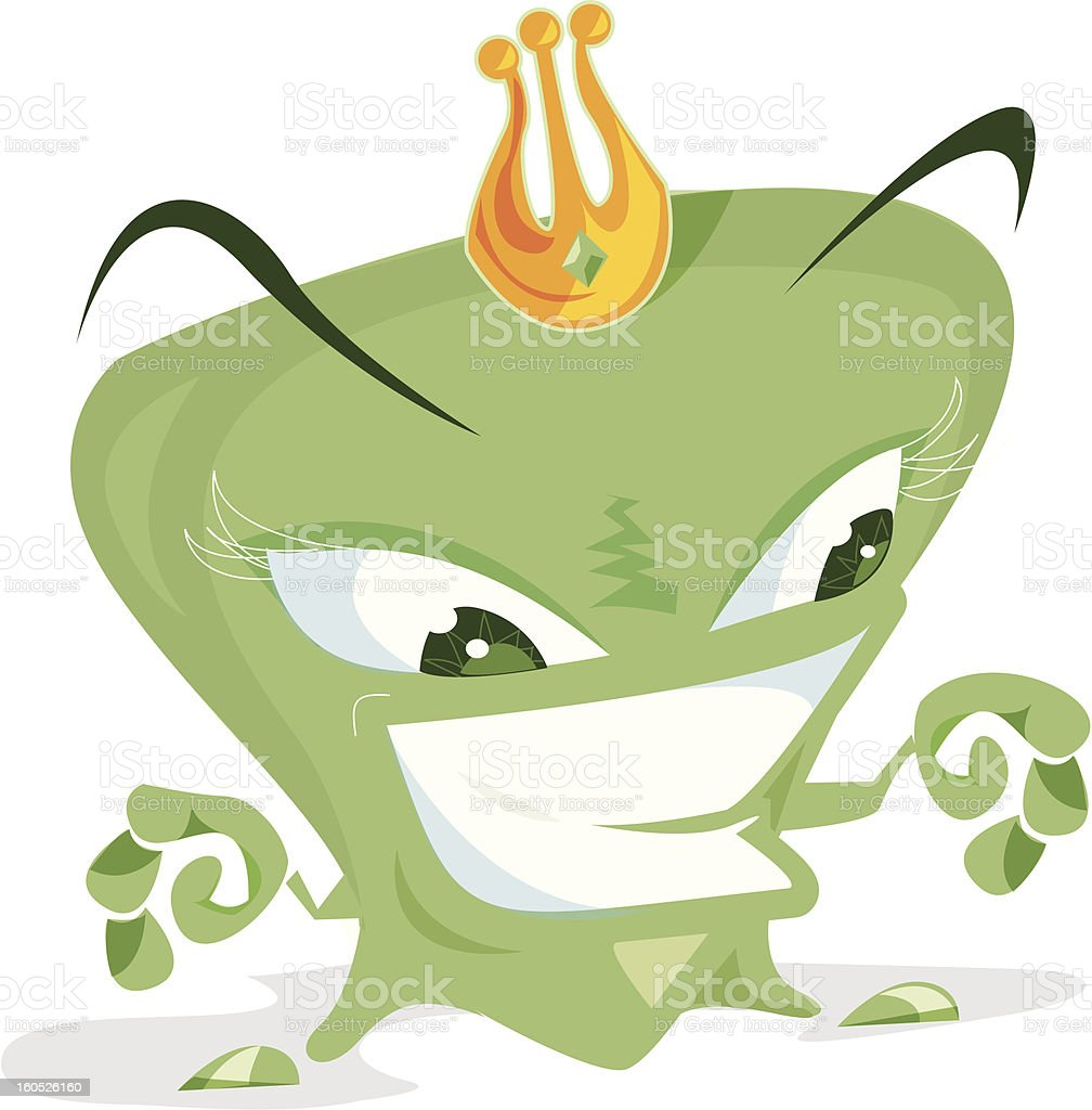 Grinning green monster royalty-free stock vector art
