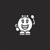 grinning icon. Filled grinning icon for website design and mobile, app development. grinning icon from filled emoji people collection isolated on black background.