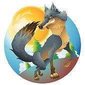 Grinning wolf posing at the moon cartoon illustration