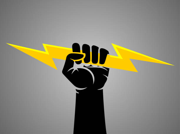 Gripping Lightning Bolt vector art illustration