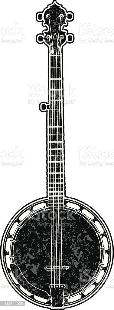 gritty banjo graphic vector art illustration