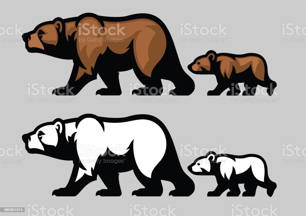 Grizzly et ses oursons - Illustration vectorielle