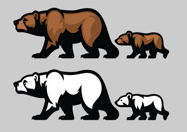 grizzly bear and her cubs vector art illustration