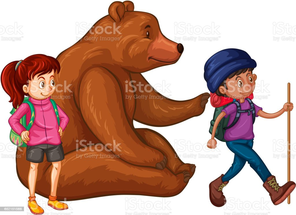 Grizzly Bear Und Zwei Wanderer Stock Vektor Art und mehr Bilder von ...