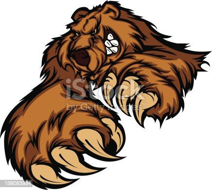 Grizzlybär Maskottchen Körper Mit Pfoten Und Krallen Stock Vektor ...