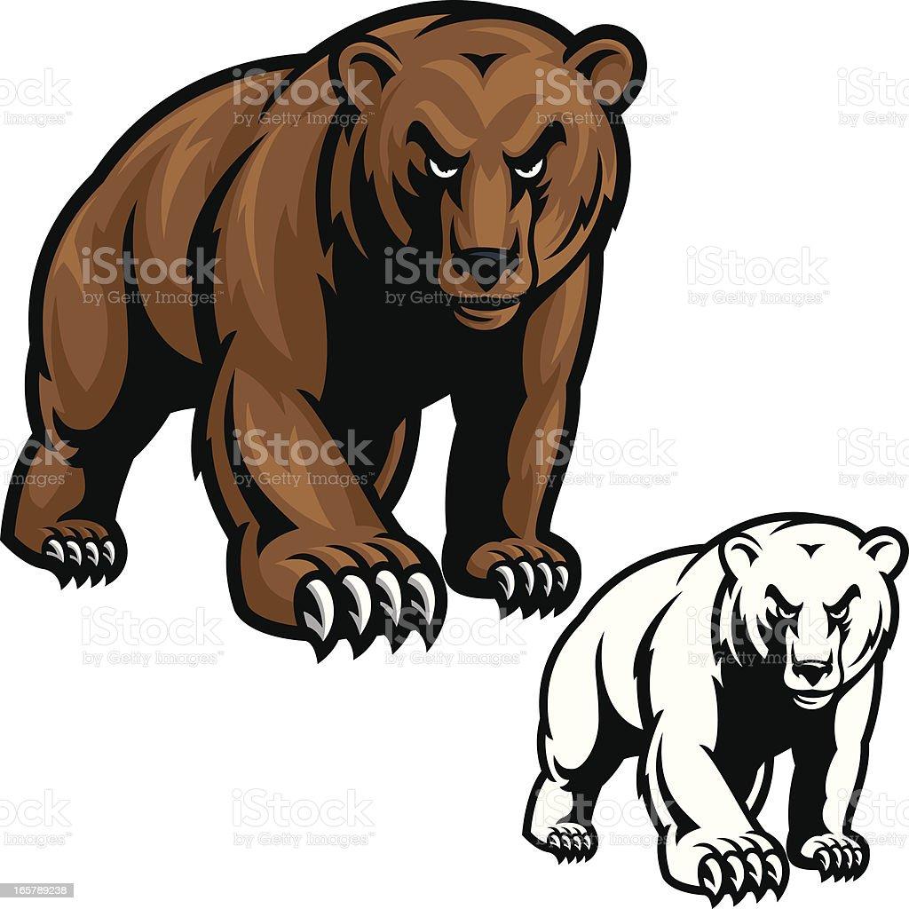 Grizzly Bear Mascot vector art illustration