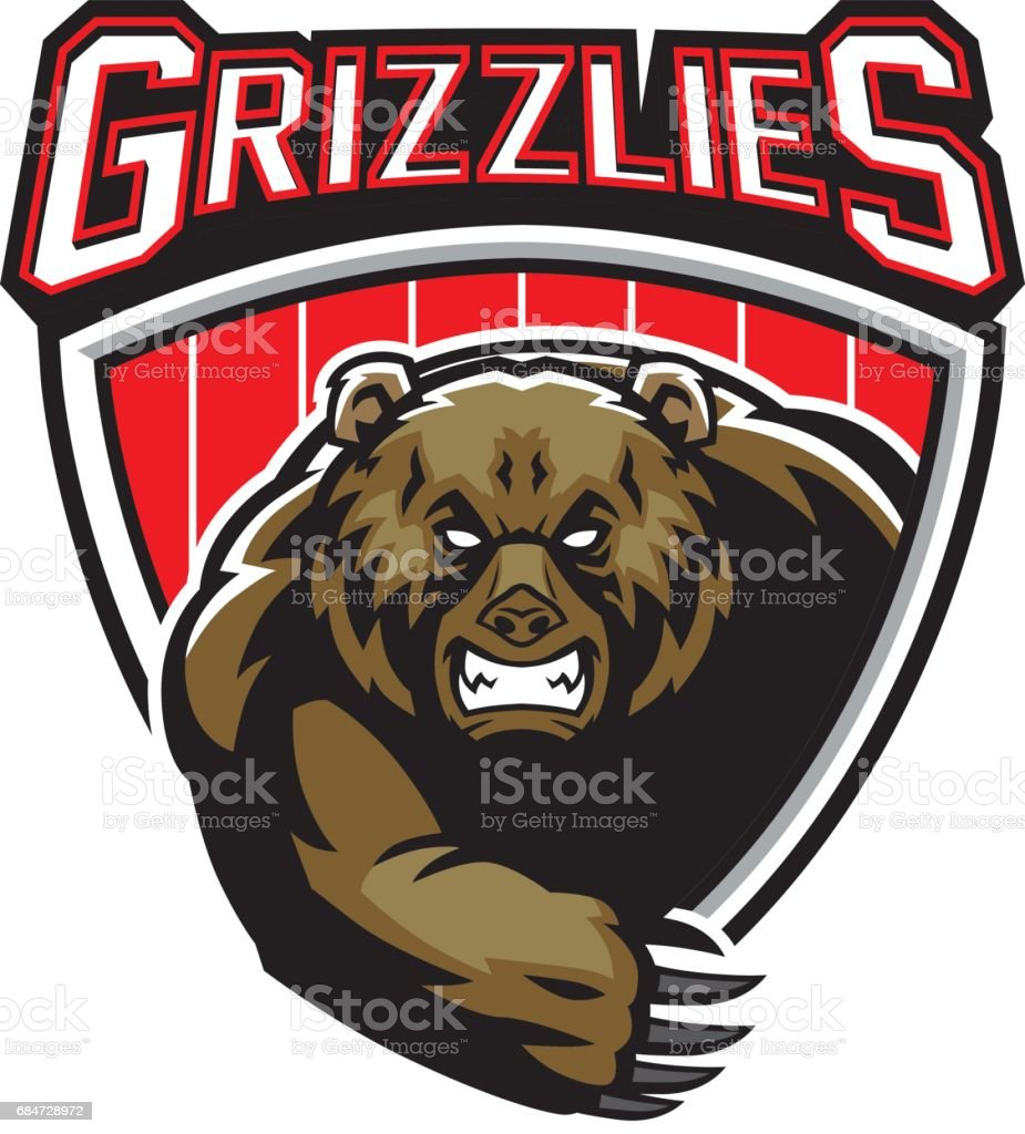 grizzly bear mascot vector art illustration