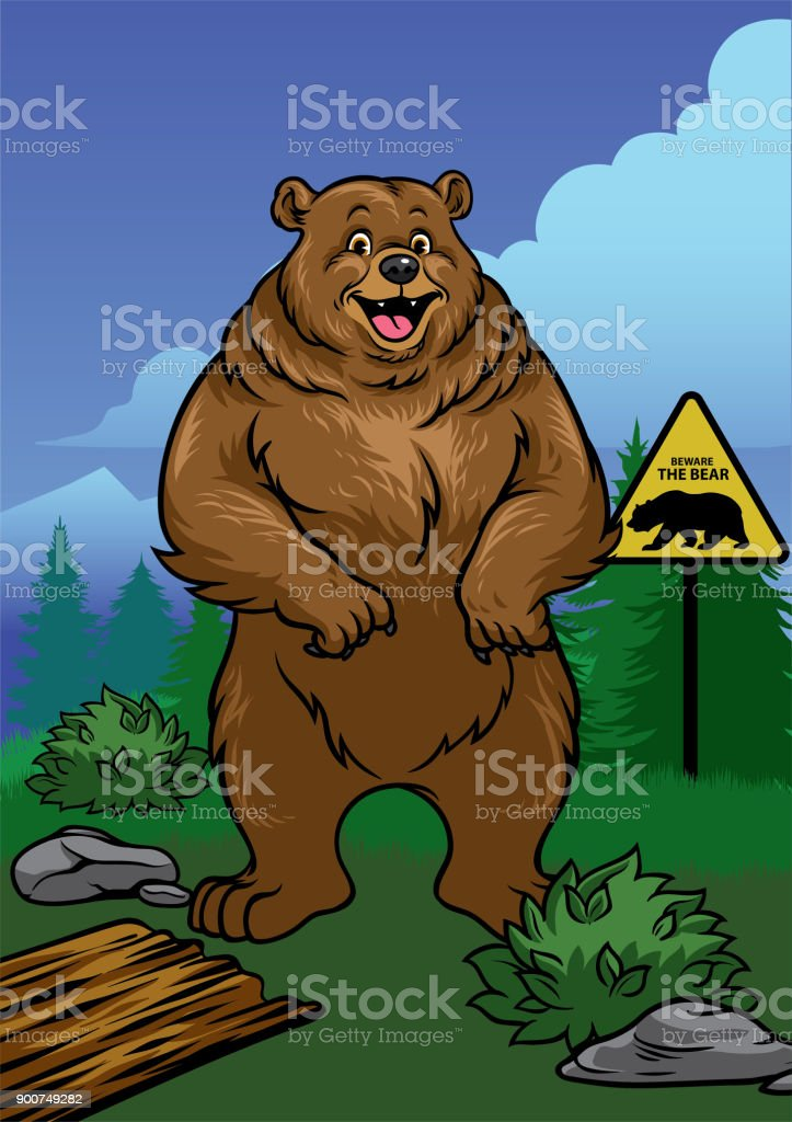Grizzly bear standing in the nature vector art illustration