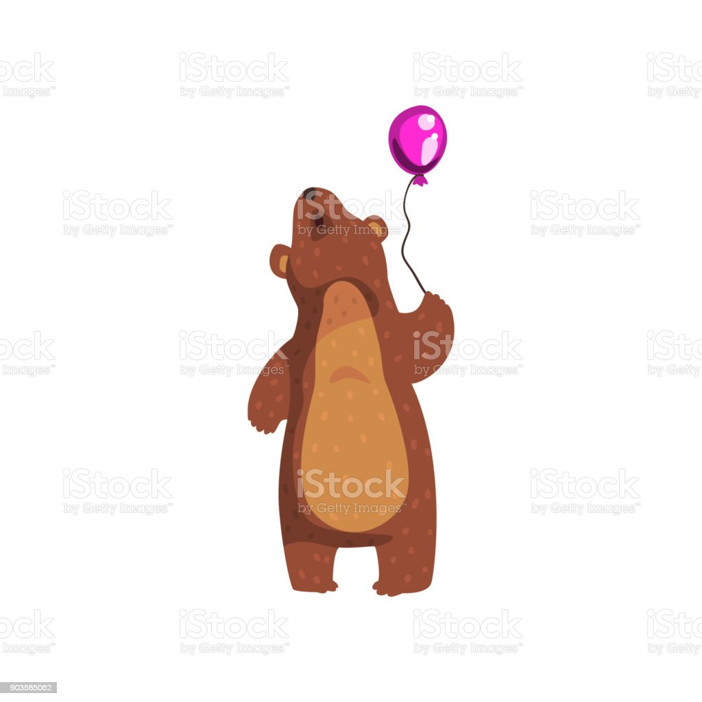 Ours Grizzly Debout Avec Ballon Brillant Violet Et Levant Animal