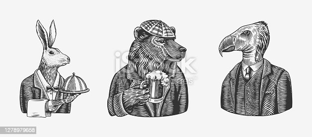 Grizzly Bear with a beer mug. Hare or Rabbit waiter bird. Fashion animal character. Hand drawn sketch. Vector engraved illustration for label, logo and T-shirts or tattoo