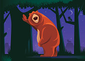 vector illustration of grizzly bear with urinary problem