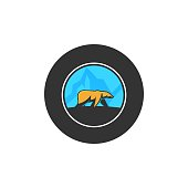 Grizzly Illustration Vector Template. Suitable for Creative Industry, Multimedia, entertainment, Educations, Shop, and any related business.