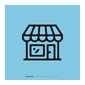 istock Grocer Rounded Line Icon 1091702002