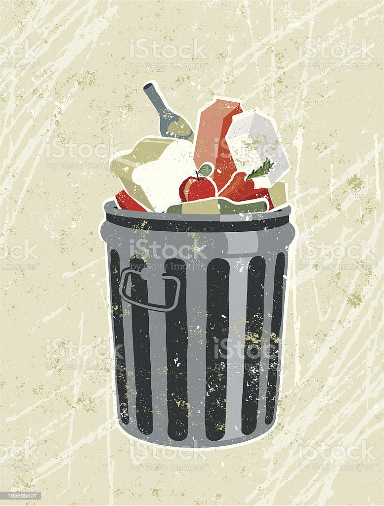 Groceries and Food in a Garbage Bin vector art illustration