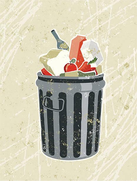 bildbanksillustrationer, clip art samt tecknat material och ikoner med groceries and food in a garbage bin - food waste
