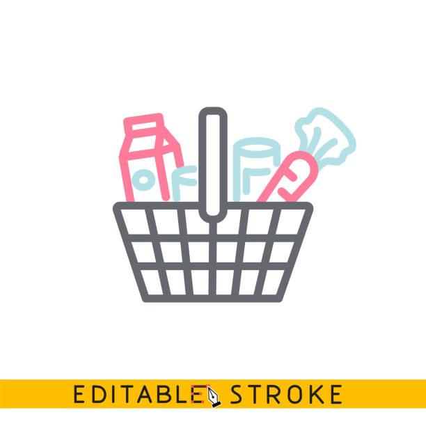 illustrazioni stock, clip art, cartoni animati e icone di tendenza di icona dei generi alimentari. vettore linea tratto modificabile facile. - bazar mercato