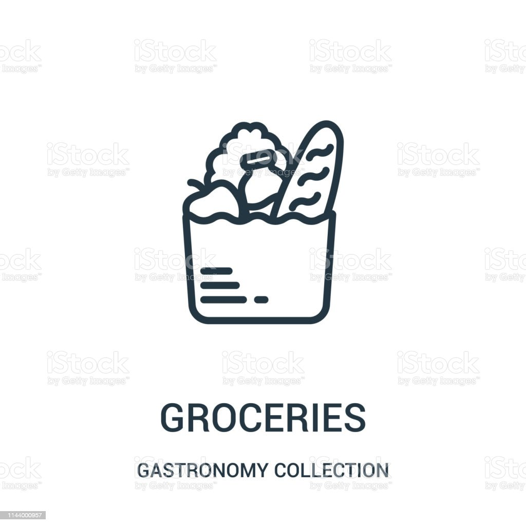 groceries icon vector from gastronomy collection collection. Thin line groceries outline icon vector illustration. - Royalty-free Arte arte vetorial