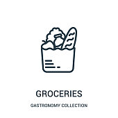 istock groceries icon vector from gastronomy collection collection. Thin line groceries outline icon vector illustration. 1144000957
