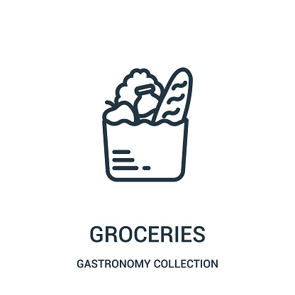 groceries icon vector from gastronomy collection collection. Thin line groceries outline icon vector illustration. clipart