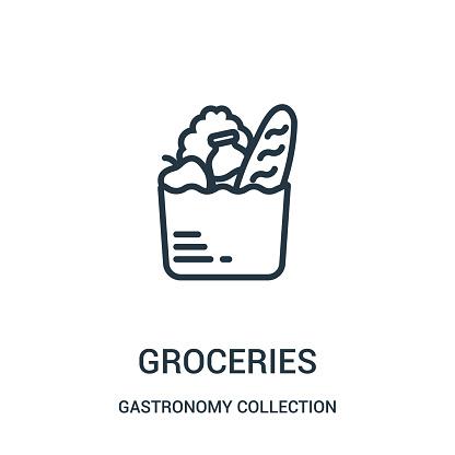 Vetores de Vetor Do Ícone Dos Mantimentos Da Coleção Da Coleção Da Gastronomia A Linha Fina Mantimentos Esboçam O Ícone Ilustração Do Vetor e mais imagens de Arte