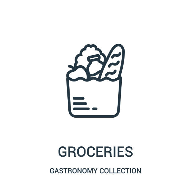 illustrazioni stock, clip art, cartoni animati e icone di tendenza di groceries icon vector from gastronomy collection collection. thin line groceries outline icon vector illustration. - food