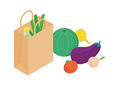 Groceries set isometric vector illustration