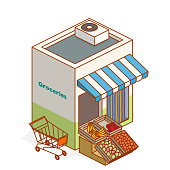 isometric grocery building