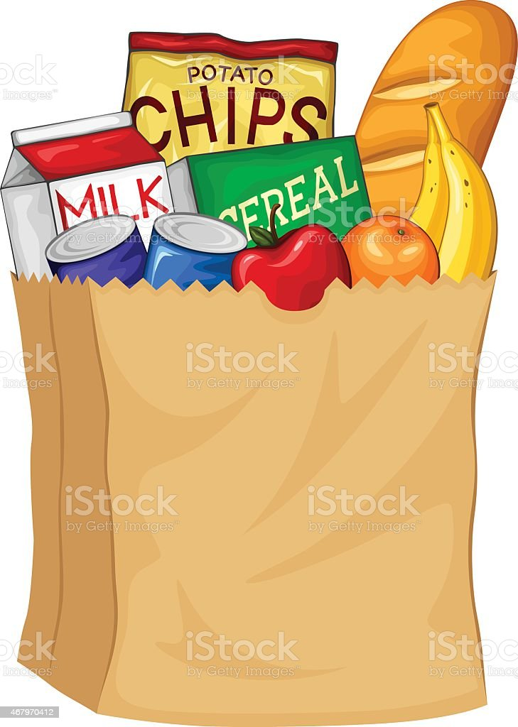 royalty free grocery bag clip art vector images illustrations rh istockphoto com cute grocery bag clipart grocery bag clip art free