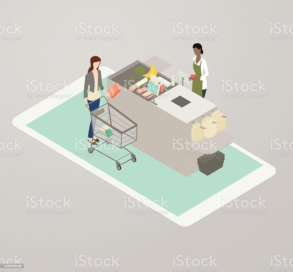 Grocery App Illustration vector art illustration